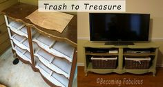 Trash to Treasure - dresser with no drawers to entertainment console. Blogger took out the middle drawer support and wrapped the top supports in jute.