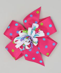 Look at this #zulilyfind! Hot Pink & White Polka Dot Bow Clip Set by Picture Perfect Hair Bows #zulilyfinds