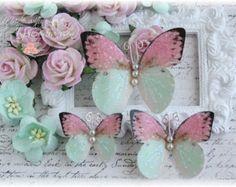 Fladderende roze roos vlinder decoratie voor door LittleScrapShop