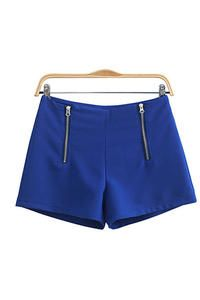 Blue Summery Smart Online Shorts with Double Ziptucks