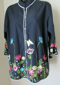 Ladies Flair Black Embroidered  Japanese Style Tunic-Jacket Size Large #Flair…