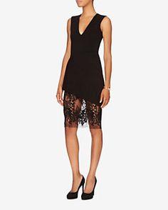 mason by michelle mason EXCLUSIVE Lace Bottom Ponte Dress