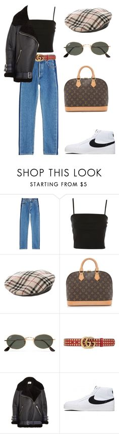 """""""/////"""" by agirlinla ❤ liked on Polyvore featuring Balenciaga, Topshop, Burberry, Louis Vuitton, Ray-Ban, Gucci, Acne Studios and NIKE"""