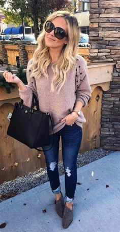 #fall #outfits women's brown long-sleeved shirt and blue jeans. Click To Shop This Look.