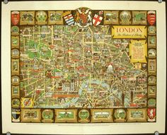 """The London Bastion of Liberty Map. This decorative map was published in or around 1946, as a commemorative keepsake for a weary city and a population that had just been through the Second World War, including The Blitz. It was designed by an artist, Kerry Lee. The map map approximately shows the modern-day """"Zone 1″ of central London, and is surrounded by vignettes of attractions in London and further afield – see the photo on the right here, for a few of these*."""