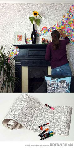 colouring in wallpaper. This would have made me so happy as a child!