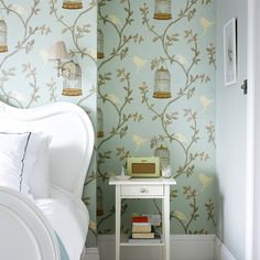 Pretty bedroom with feature wallpaper