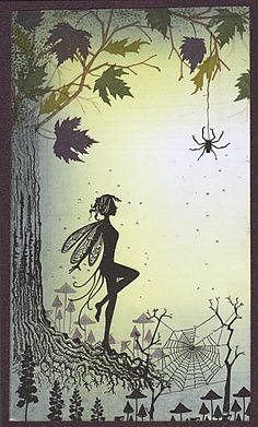 SPIDERS WEB USING MIDSUMMERS DREAM LG, AUTUMN SCENE, TREE ROOT, SPIDERS WEB, BUGS, MUSHROOMS AND BLUEBELL STAMPS. BRAYERED BACKGROUND WITH CITRUS GREEN AND EGGPLANT.