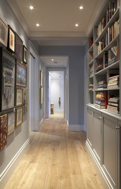 Built-in book shelves are a great idea for otherwise lost space in a hallway