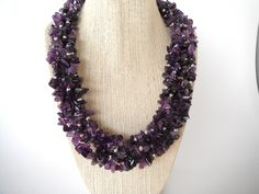Amethyst Purple Torsade with Silver Beads Necklace Gift fashion under 50. $45.00, via Etsy.