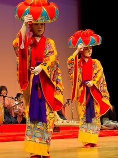 front view of traditional okinawan dancers