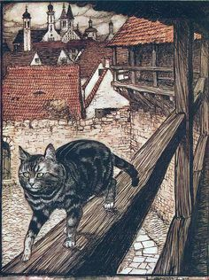 "From 'The Cat and Mouse in Partnership'. ""Grimm's Fairy Tales"" illustrated by Arthur Rackham, 1909"