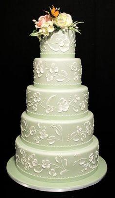 Flowers & Butterfly Wedding Cake ❤ http://markjosephcakes.com/