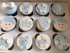 You have to see these adorable baby shower cupcakes! These cupcakes are perfect for any baby shower! Baby Shower Cupcakes For Boy, Cupcakes For Boys, Baby Cupcake, Baby Shower Desserts, Baby Shower Cookies, Baby Boy Shower, Birthday Cupcakes, Fondant Toppers, Fondant Cupcakes