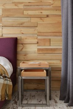 Apartment Modern And Vintage Industrial Bedside Furniture Capuccino Colored Refined Wood Headboard Wall Dark Grey Floor Span Curtain Dark Maroon Bed Industrial And Scruffy Stylish Bachelor's Apartment