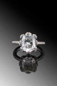 Fred Leighton platinum cushion-cut diamond engagement ring (3.01ct). #wedding