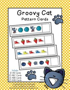 This set provides a great way teach your students to identify and continue AB, ABC, ABB, and AAB patterns with pictures. There are 12 pattern cards for each type of pattern. Each set contains cards to complete each pattern. These cards make a great math station activity! Just print, laminate, and cut the cards . . . then place them in the math station! You're kiddos will think that making patterns is groooovy!