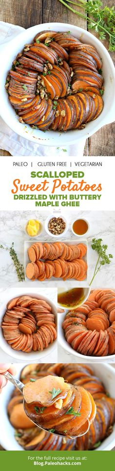 Scalloped sweet potatoes smothered in buttery ghee and maple syrup are almost too pretty to eat, but that won't stop us! Get the full recipe here: