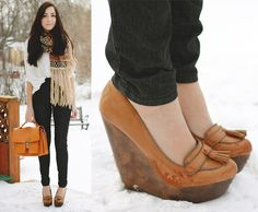 Get this look: http://lb.nu/look/3011357  More looks by Breanne S.: http://lb.nu/flattery  Items in this look:  Romwe Scarf, Romwe Satchel, Lu Lu*S Wedge Loafers