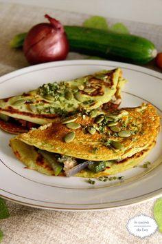 Crepes con farina di piselli verdure e tonno