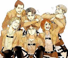 Shingeki no kyojin. Levi, Eren, Petra .3 co cute >.<