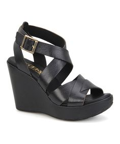 Look what I found on #zulily! Black Mendy Leather Wedge Sandal #zulilyfinds