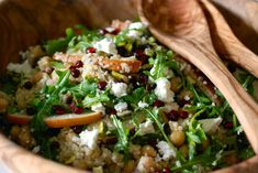 Quinoa, Chickpea, Pear and Arugula Salad with a Pomegranate Vinaigrette from Kitchen Culinaire