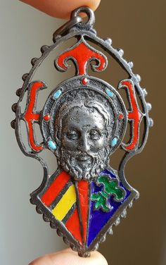 Large Vintage Spanish Silver and Enamel Saint James Santiago Medal Pendant Religious Gift Catholic Gift Apostle Catholic Jewelry Religious by PinyolBoiVintage on Etsy