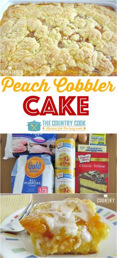 Peach Cobbler Cake recipe from The Country Cook