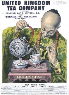 United Kingdom Tea Company print ad, c. 1894, colourized ... w/ artwork of man in traditional Chinese dress pouring tea from teapot into western style cup and saucer and tea prices, UK