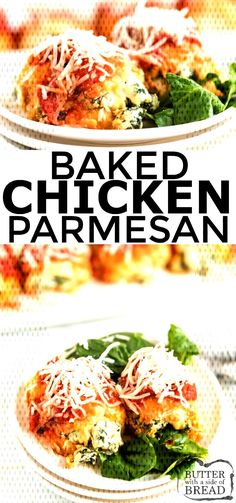 Baked Chicken Parmesan Bundles are stuffed with spinach & cheese then breaded, baked and topped with flavorful marinara sauce. Perfect baked chicken p Chicken Parmesan Recipes, Yummy Chicken Recipes, Yum Yum Chicken, Turkey Recipes, Recipe Chicken, Lemon Chicken, Recipes Dinner, Perfect Baked Chicken, Sauce Marinara