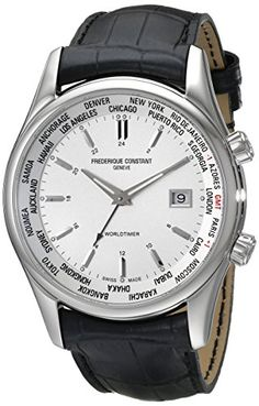 Frederique Constant Men's FC255S6B6 Classic Silver Dual Time Zone Dial Watch - Smart Pinner