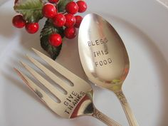 Holiday Serving Spoon and Fork Set. $34.00, via Etsy.