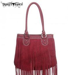 Montana West TR09-8562 Trinity Ranch Fringe Design Western Handbag Purse-Red