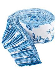 """Blue Eden Jelly Roll. Your favorite color combo -- blue and white in a new elegant collection by Maria Kalinowski for Benartex. Blue Eden features exquisite peacocks, gorgeous flowers and vines and a fabulous peacock feather print that will make for eye catching projects.    Ranging from powder blue to navy, Blue Eden has loads of design possibilities with a touch of tradition. $20 for twenty 2.5"""" strips of 100% cotton fabric from Benartex."""