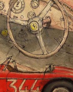 Ferrari Barchetta 1948 Original Handmade Drawing Art by drawspots, $42.00