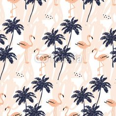 """Wall Mural """"tropical, flamingo, bird - palm trees and blush pink flamingo on the white with strokes. vector seamless pattern with tropical birds and plants."""" ✓ Easy Installation ✓ 365 Day Money Back Guarantee ✓ Browse other patterns from this collection!"""
