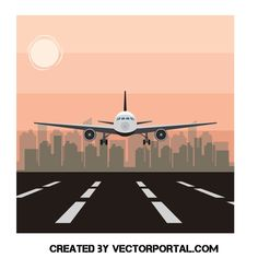 Airplane landing - Free vector image in AI and EPS format. Airplane Landing, Airplane Art, Free Vector Images, Vector Free, Kindergarten Art Lessons, Plane Photos, Travel And Tourism, Airports, Site Design