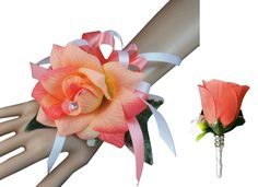 2pc set Wrist corsage and Boutonniere(BCset-21)shades of coral with white color ribbon