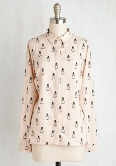 I'm Owl Dressed Up Top by Sugarhill Boutique - Cream, Print with Animals, Print, Casual, Owls, Critters, Long Sleeve, Woven, Better, Collared, Mid-length