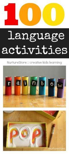 100 language activities :: alphabet, spelling, sight words, creative writing, storytelling, language development. Multi-sensory, play-based ideas.