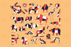 Domestic and wild animals - flat design icons set by BoykoPictures on Envato Elements Icon Design, Flat Design Icons, Art Design, Graphic Design, Layout Design, Business Illustration, Pencil Illustration, Adobe Illustrator, Graphic Wallpaper