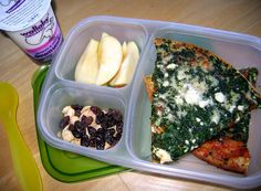 In their lunch box: Spinach and feta pizza is one of my girls' favorite meals when I pack it to go the nights that they have back to back dance classes after school. All that twirling and tap dancing makes them work up quite an appetite! Container by EasyLunchboxes.