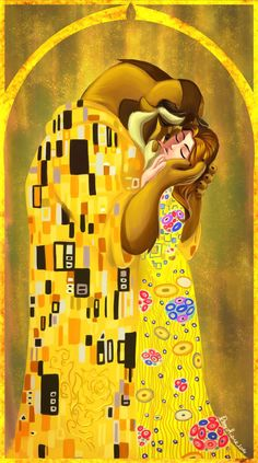 "The kiss by Sommum.deviantart.com on @DeviantArt - ""Beauty and the Beast"" in the style of Gustav Klimt's ""The Kiss"""