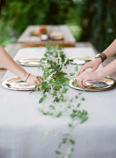 greenery table garland. Is that night blooming jasmine? Heavens, that's an amazing idea.