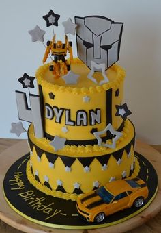 These 16 Cool Transformers Birthday Party Ideas will have any kid excited for their party! Get ideas for Transformer cakes, decorations, favors, and more. Transformer Party, Bumble Bee Transformer Cake, Bumble Bee Cake, Bumble Bee Birthday, Bee Cakes, Cupcake Cakes, Cake Fondant, Rescue Bots Birthday, Rescue Bots Cake