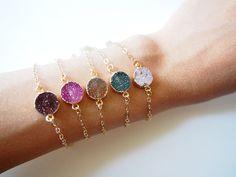Round Agate Druzy Bracelet Drusy Chain Bracelet 24k Gold by LUSIX