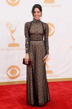 Aubrey Plaza - Emmys 2013 Red Carpet  Photo Aubrey Plaza rocks long sleeves  on the red carpet at the 2013 Emmy Awards held at the Nokia Theatre L. 927906196fa7