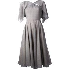 ROKSANDA ILINCIC 'Elwood' dress (17,560 MXN) ❤ liked on Polyvore featuring dresses, semi sheer dress, roksanda ilincic, green sleeve dress, gray dress and checked dress
