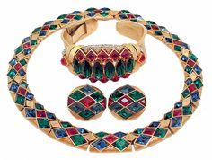 "Vintage Trifari Mogul ""Jewels Of India"" Parure"